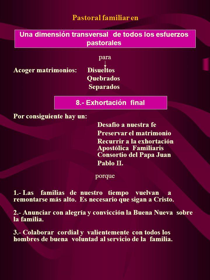 Pastoral familiar en para Acoger matrimonios: Disueltos Quebrados Separados Por consiguiente hay un: Desafío a nuestra fe Preservar el matrimonio Recurrir a la exhortación Apostólica Familiaris Consortio del Papa Juan Pablo II.