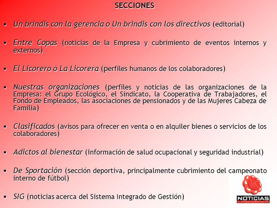 SECCIONES Un brindis con la gerencia o Un brindis con los directivos ( editorial )Un brindis con la gerencia o Un brindis con los directivos ( editori