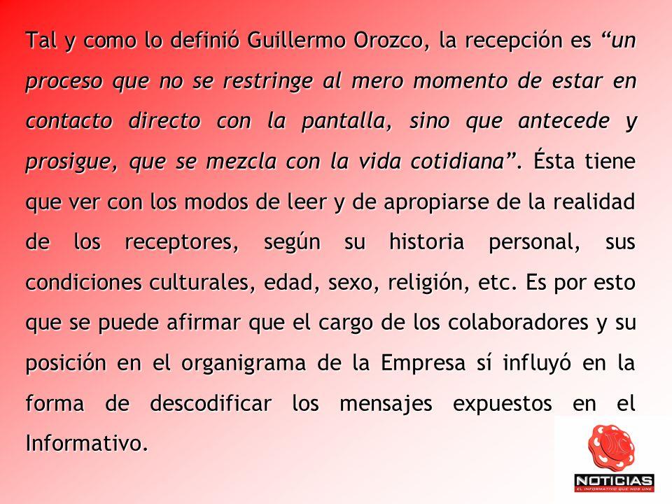 Tal y como lo definió Guillermo Orozco, la recepción es un proceso que no se restringe al mero momento de estar en contacto directo con la pantalla, s
