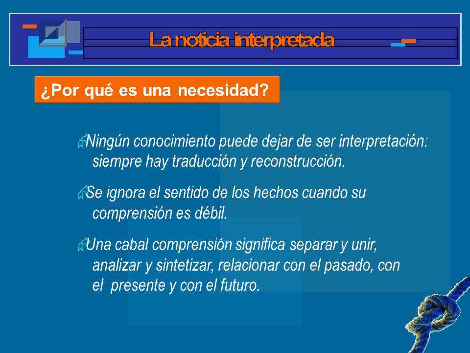 ¿Por qué es una necesidad? Ningún conocimiento puede dejar de ser interpretación: siempre hay traducción y reconstrucción. Se ignora el sentido de los