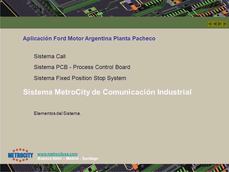 www.metrocitysa.com Buenos Aires – Madrid - Santiago Sistema MetroCity de Comunicación Industrial Aplicación Ford Motor Argentina Planta Pacheco Siste