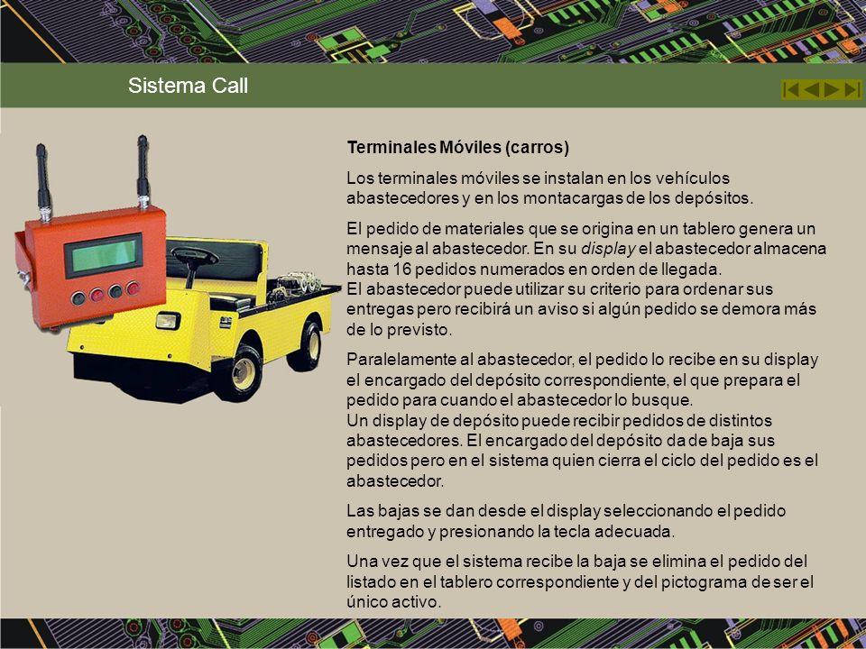 Terminales Móviles (carros) Los terminales móviles se instalan en los vehículos abastecedores y en los montacargas de los depósitos. El pedido de mate
