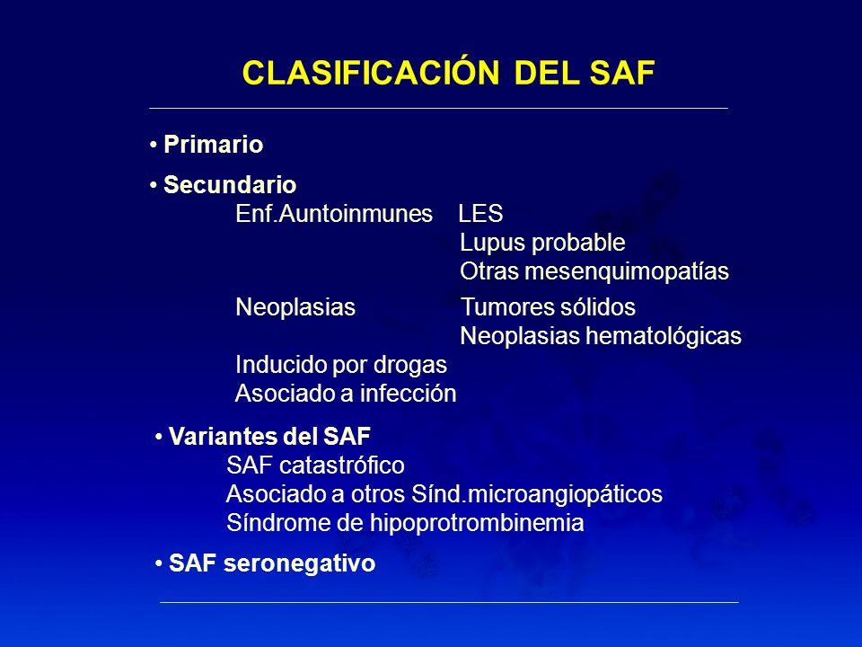 CLASIFICACIÓN DEL SAF Primario Secundario Enf.Auntoinmunes LES Lupus probable Otras mesenquimopatías Neoplasias Tumores sólidos Neoplasias hematológic