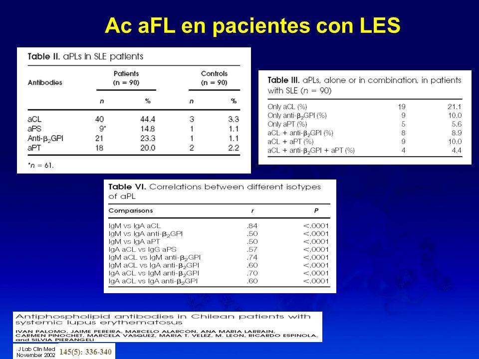 Ac aFL en pacientes con LES 145(5): 336-340