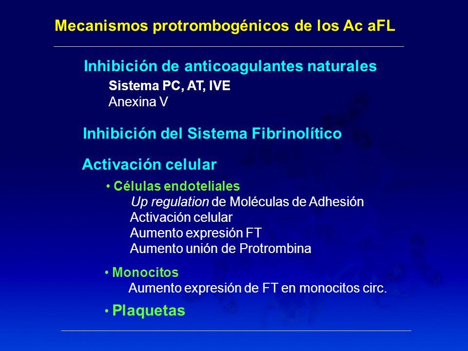 Mecanismos protrombogénicos de los Ac aFL Inhibición de anticoagulantes naturales Sistema PC, AT, IVE Anexina V Monocitos Aumento expresión de FT en m
