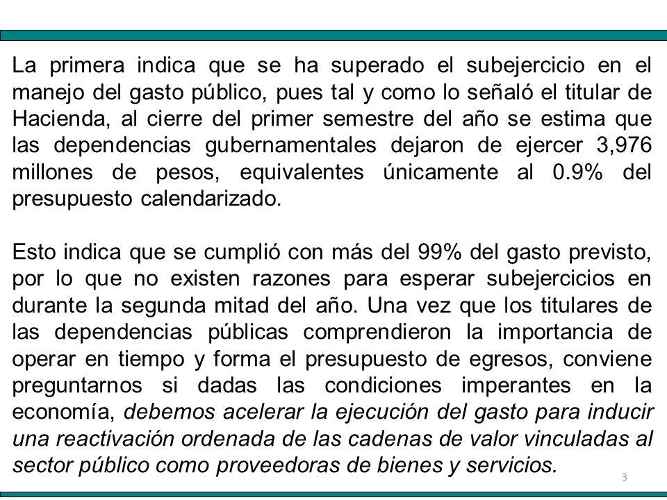 3 La primera indica que se ha superado el subejercicio en el manejo del gasto público, pues tal y como lo señaló el titular de Hacienda, al cierre del