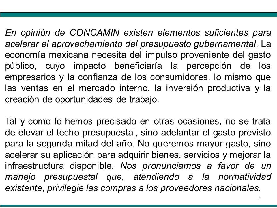 4 En opinión de CONCAMIN existen elementos suficientes para acelerar el aprovechamiento del presupuesto gubernamental. La economía mexicana necesita d