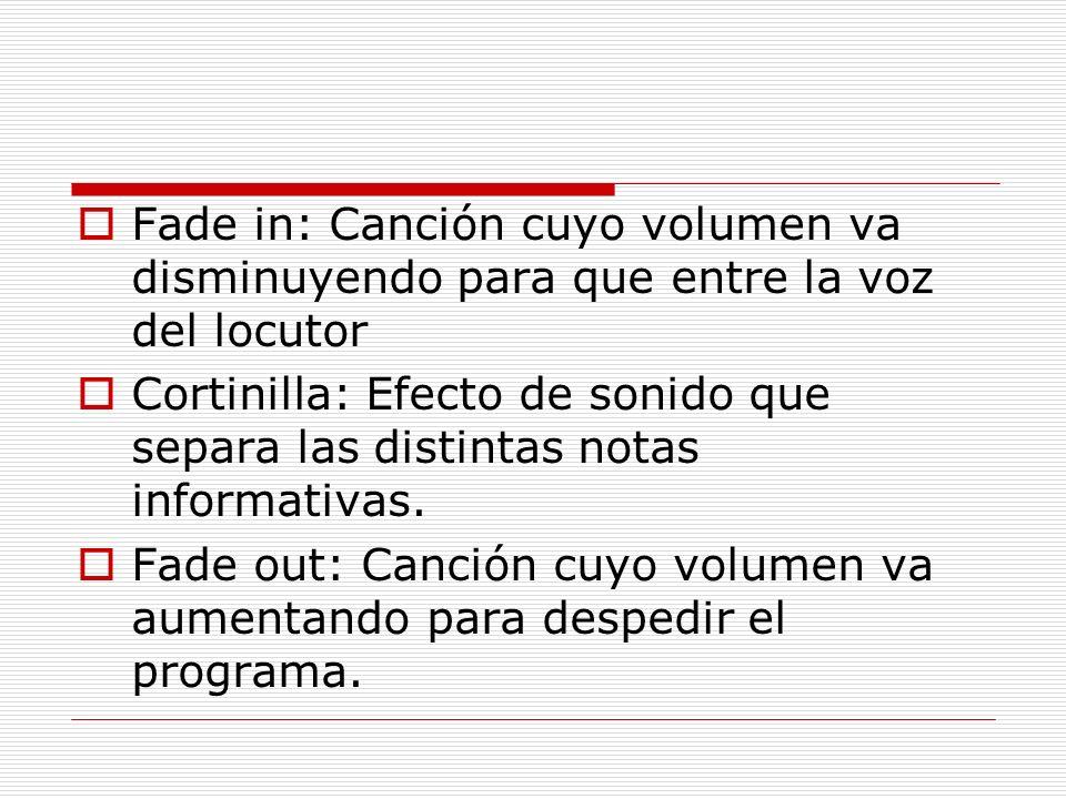 Fade in: Canción cuyo volumen va disminuyendo para que entre la voz del locutor Cortinilla: Efecto de sonido que separa las distintas notas informativ
