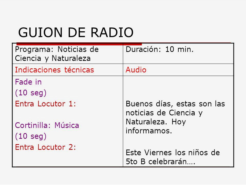 Programa: Noticias de Ciencia y Naturaleza Duración: 10 min. Indicaciones técnicasAudio Fade in (10 seg) Entra Locutor 1: Cortinilla: Música (10 seg)