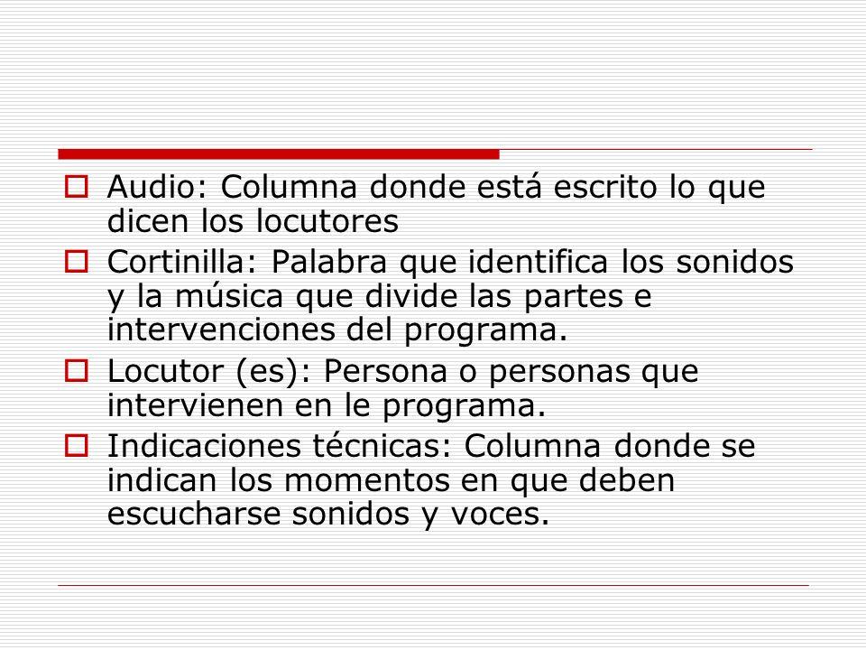 Audio: Columna donde está escrito lo que dicen los locutores Cortinilla: Palabra que identifica los sonidos y la música que divide las partes e interv