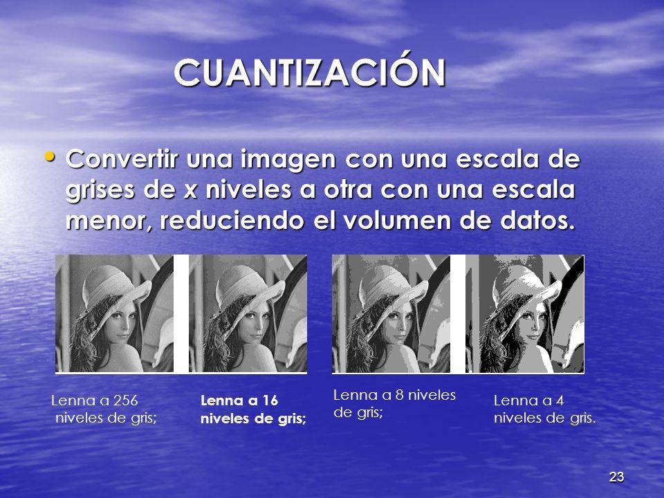 22 PROCESAMIENTO DE IMÁGENES PROCESAMIENTO DE IMÁGENES Representación de imágenes Representación de imágenes Conversión a grises Conversión a grises N