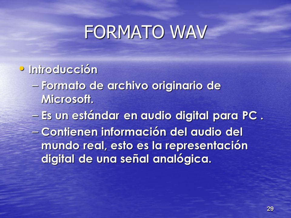 28 FORMATO WAV Introducción Introducción Características Características Conceptos Conceptos Formato Formato