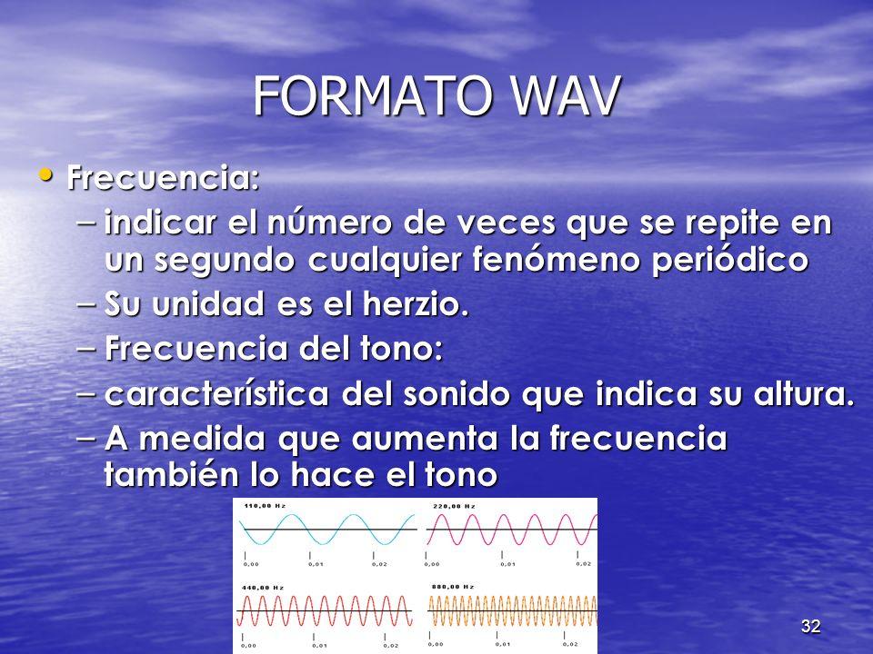 31 FORMATO WAV Conceptos Conceptos – Frecuencia del tono. – Sonido. – Timbre. – Intensidad.