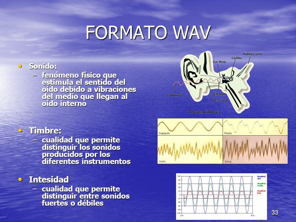 32 FORMATO WAV Frecuencia: Frecuencia: – indicar el número de veces que se repite en un segundo cualquier fenómeno periódico – Su unidad es el herzio.