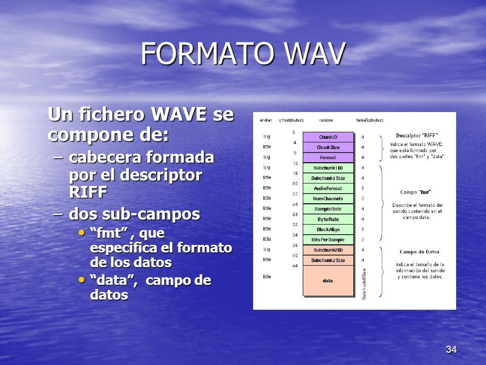 33 FORMATO WAV Sonido: Sonido: –fenómeno físico que estimula el sentido del oído debido a vibraciones del medio que llegan al oído interno Timbre: Tim