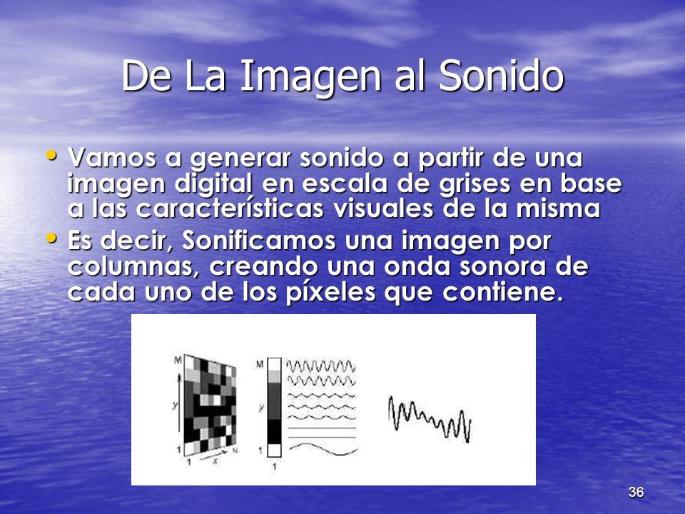 35 ÍNDICE Introducción Introducción Objetivos Objetivos Procesamiento de imágenes Procesamiento de imágenes Formato WAVE Formato WAVE De imagen a soni