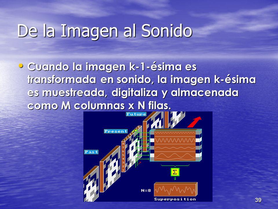 38 De la Imagen al Sonido La suma que se forma de la contribución de cada uno de los píxeles es el sonido correspondiente a la primera columna. Para s