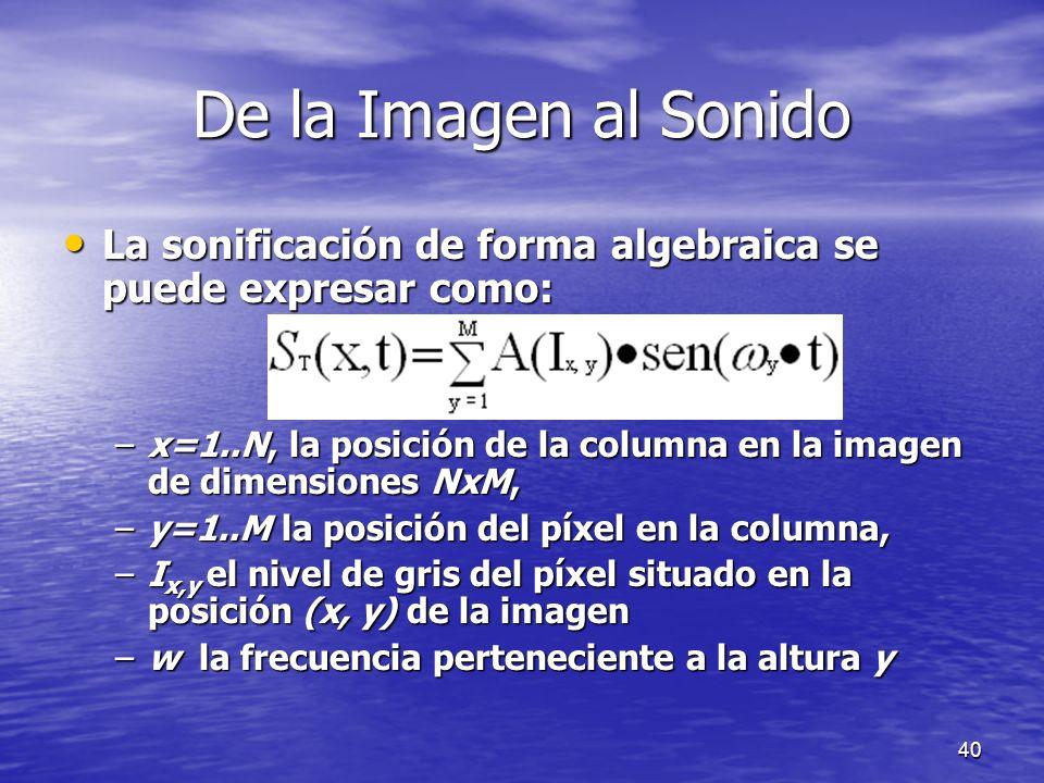 39 De la Imagen al Sonido Cuando la imagen k-1-ésima es transformada en sonido, la imagen k-ésima es muestreada, digitaliza y almacenada como M column