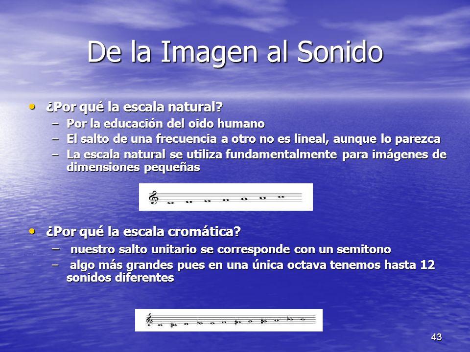 42 De la Imagen al Sonido El conjunto de frecuencias usado en el proceso de sonificación puede ser en principio arbitrario El conjunto de frecuencias