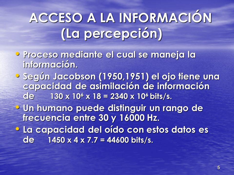 5 ACCESO A LA INFORMACIÓN (La percepción) ACCESO A LA INFORMACIÓN (La percepción) Proceso mediante el cual se maneja la información.