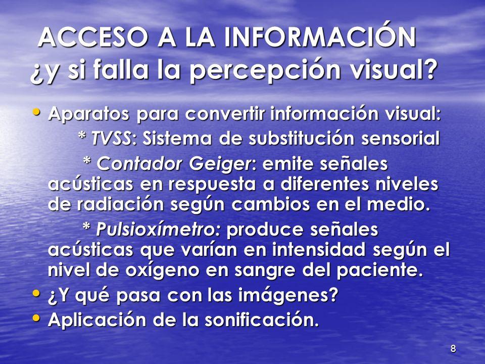 7 ACCESO A LA INFORMACIÓN ¿y si falla la percepción visual? ACCESO A LA INFORMACIÓN ¿y si falla la percepción visual? Braille (XIX) inventó un sistema