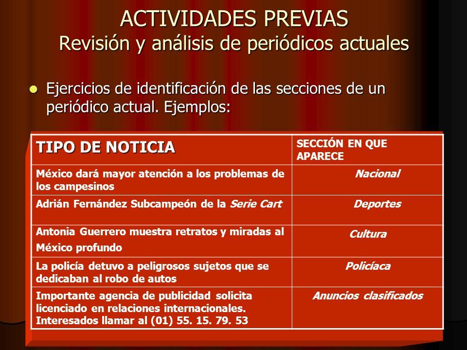 ACTIVIDADES PREVIAS Revisión y análisis de periódicos actuales Ejercicios de identificación de las secciones de un periódico actual.