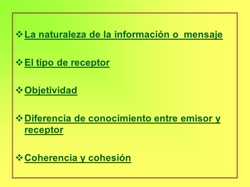 La naturaleza de la información o mensaje El tipo de receptor Objetividad Diferencia de conocimiento entre emisor y receptor Coherencia y cohesión