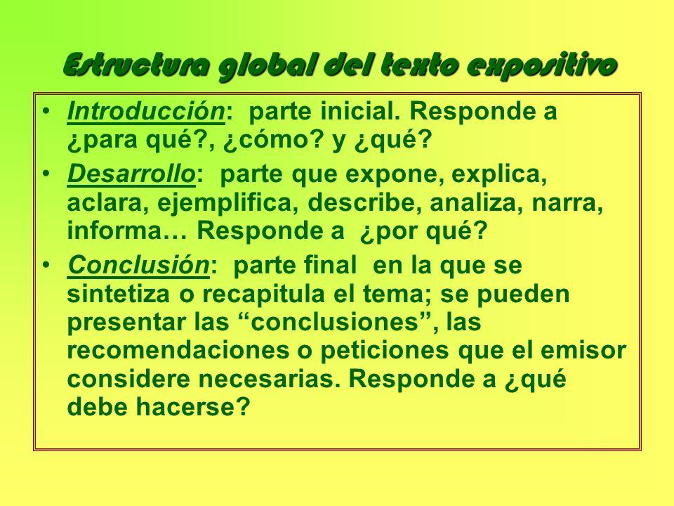 Estructura global del texto expositivo Introducción: parte inicial. Responde a ¿para qué?, ¿cómo? y ¿qué? Desarrollo: parte que expone, explica, aclar