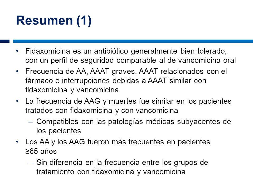 Resumen (1) Fidaxomicina es un antibiótico generalmente bien tolerado, con un perfil de seguridad comparable al de vancomicina oral Frecuencia de AA,
