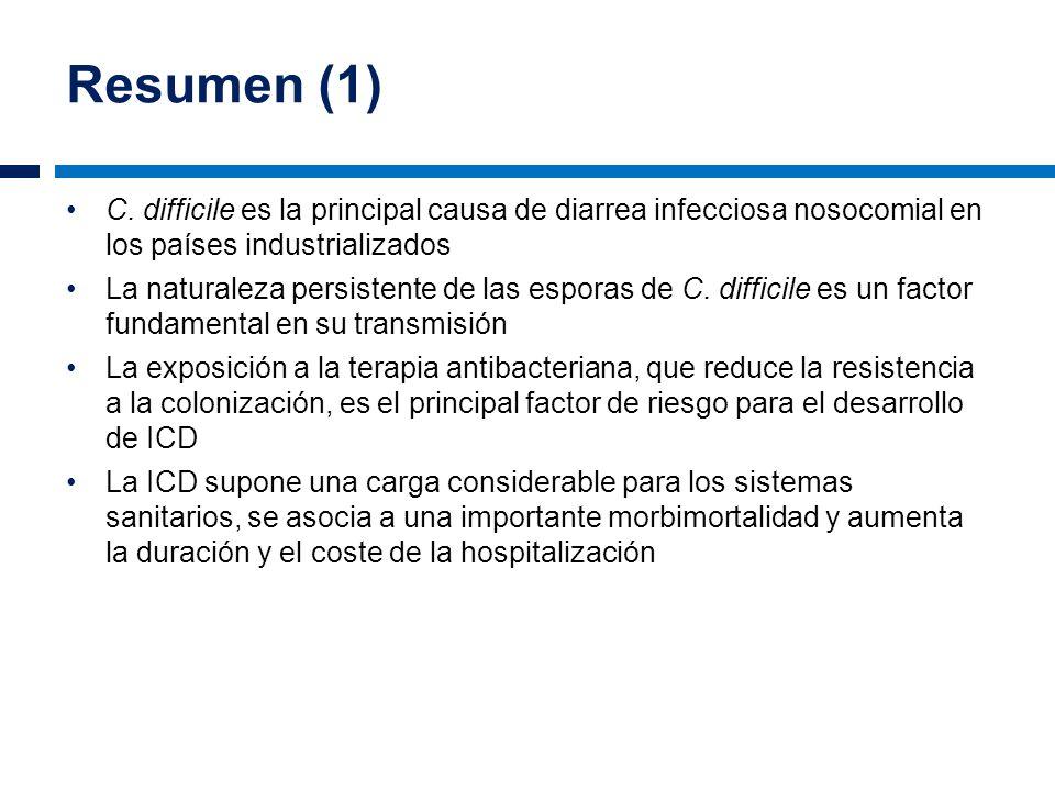 Resumen (1) C. difficile es la principal causa de diarrea infecciosa nosocomial en los países industrializados La naturaleza persistente de las espora