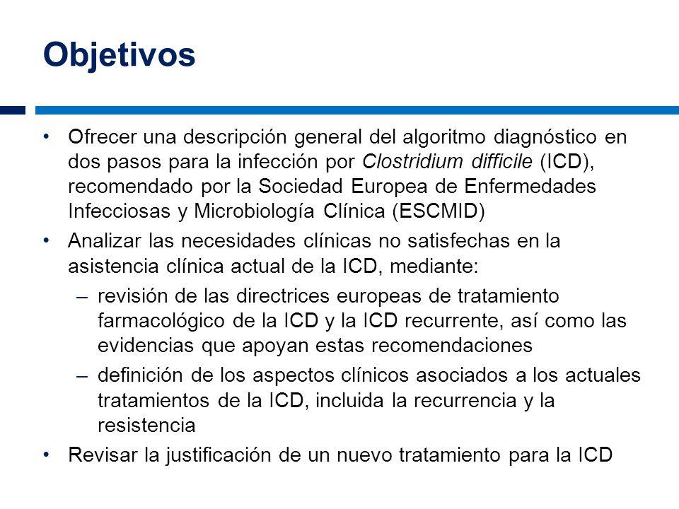 Objetivos Ofrecer una descripción general del algoritmo diagnóstico en dos pasos para la infección por Clostridium difficile (ICD), recomendado por la