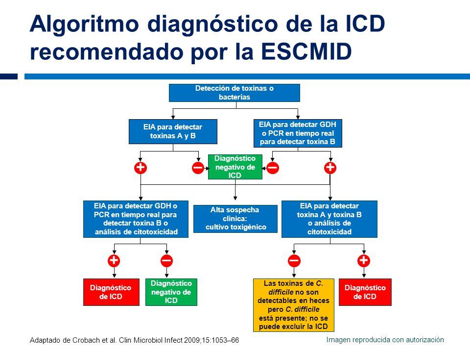 Algoritmo diagnóstico de la ICD recomendado por la ESCMID Adaptado de Crobach et al. Clin Microbiol Infect 2009;15:1053–66 EIA para detectar toxinas A