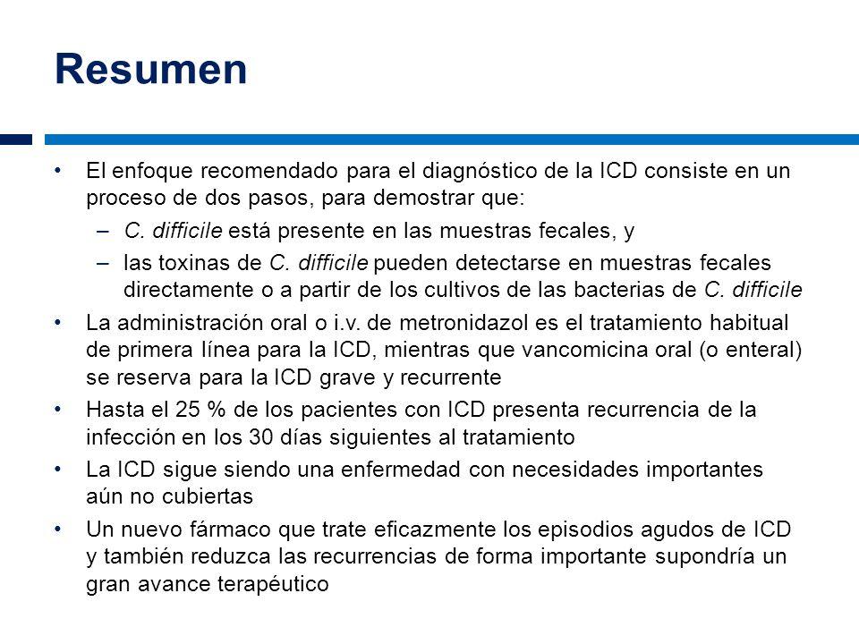 Resumen El enfoque recomendado para el diagnóstico de la ICD consiste en un proceso de dos pasos, para demostrar que: –C. difficile está presente en l