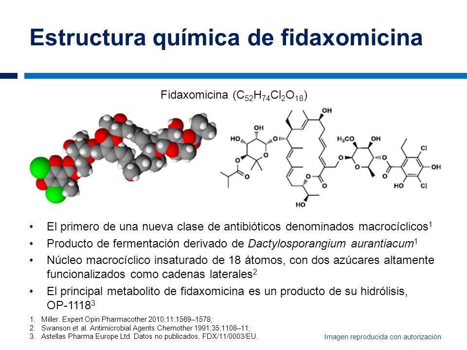 Estructura química de fidaxomicina El primero de una nueva clase de antibióticos denominados macrocíclicos 1 Producto de fermentación derivado de Dact