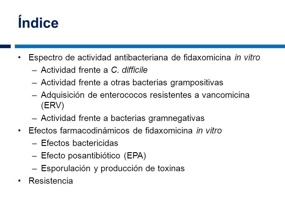 Índice Espectro de actividad antibacteriana de fidaxomicina in vitro –Actividad frente a C. difficile –Actividad frente a otras bacterias grampositiva