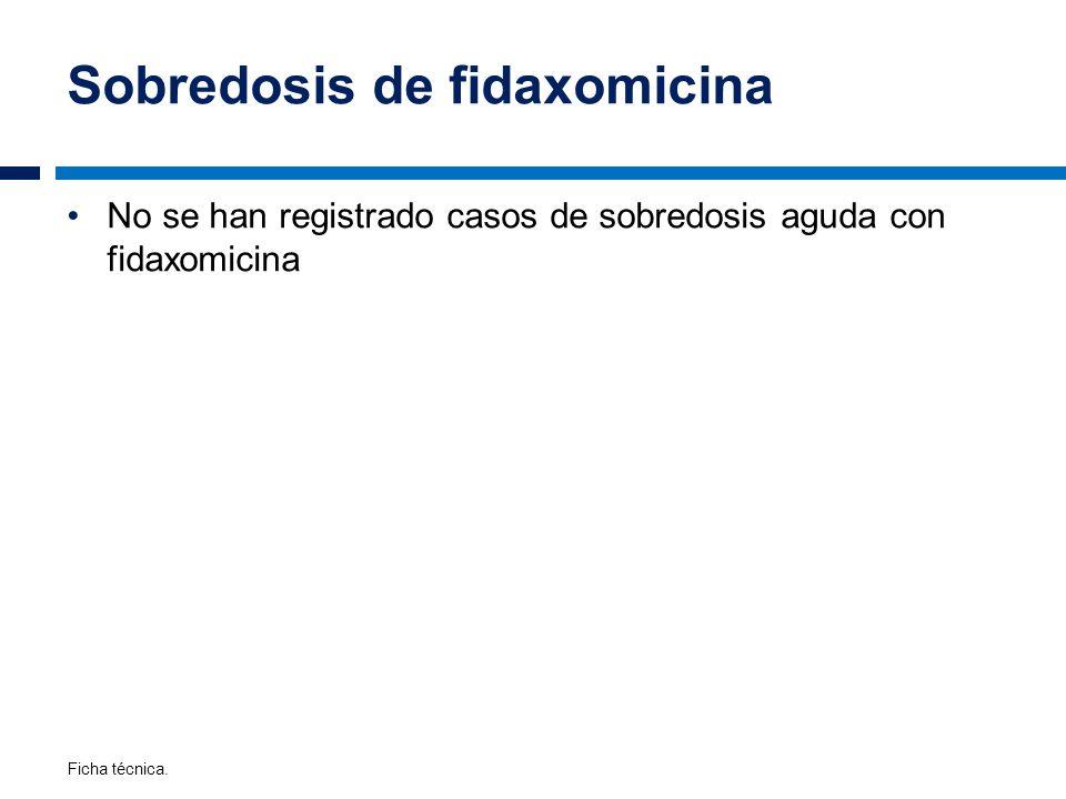 Sobredosis de fidaxomicina No se han registrado casos de sobredosis aguda con fidaxomicina Ficha técnica.