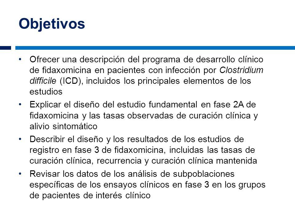 Objetivos Ofrecer una descripción del programa de desarrollo clínico de fidaxomicina en pacientes con infección por Clostridium difficile (ICD), inclu