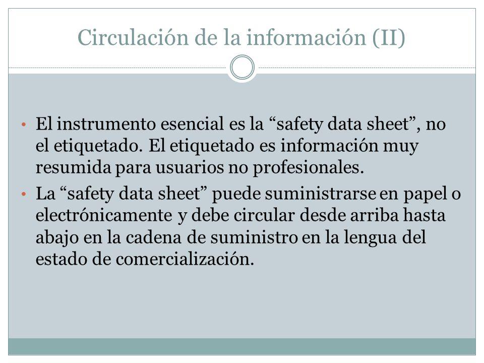 Circulación de la información (II) El instrumento esencial es la safety data sheet, no el etiquetado. El etiquetado es información muy resumida para u