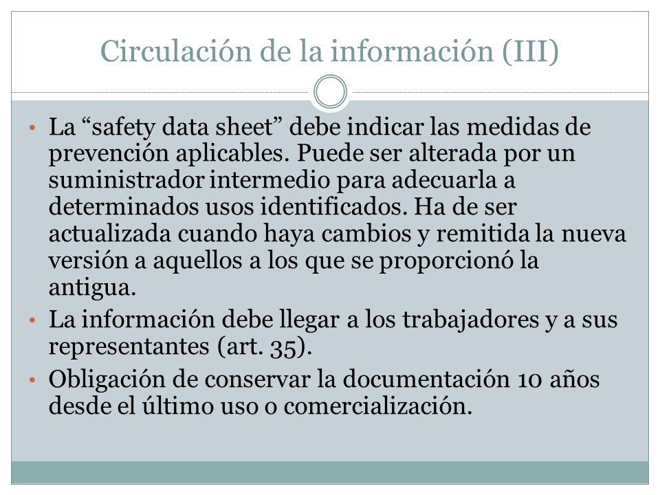 Circulación de la información (III) La safety data sheet debe indicar las medidas de prevención aplicables. Puede ser alterada por un suministrador in