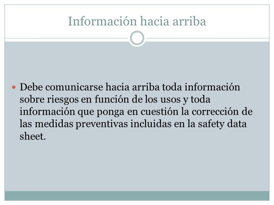 Información hacia arriba Debe comunicarse hacia arriba toda información sobre riesgos en función de los usos y toda información que ponga en cuestión