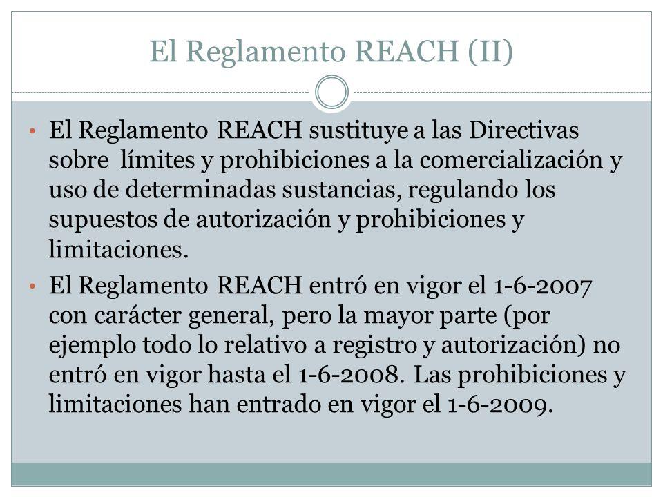 El Reglamento REACH (II) El Reglamento REACH sustituye a las Directivas sobre límites y prohibiciones a la comercialización y uso de determinadas sust