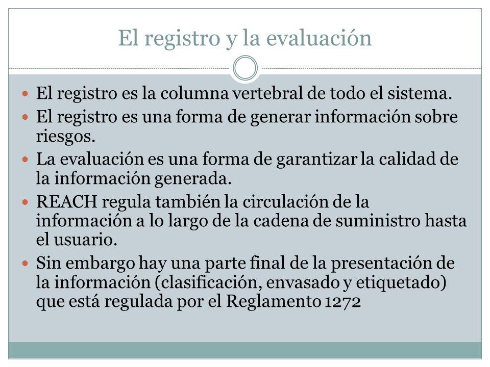 El registro y la evaluación El registro es la columna vertebral de todo el sistema. El registro es una forma de generar información sobre riesgos. La