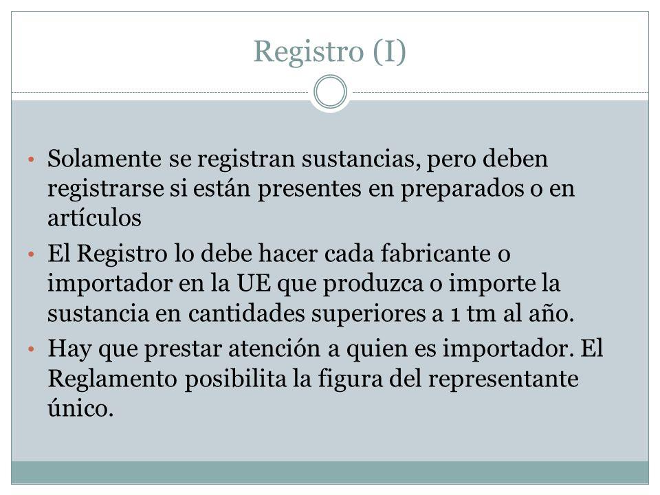 Registro (I) Solamente se registran sustancias, pero deben registrarse si están presentes en preparados o en artículos El Registro lo debe hacer cada