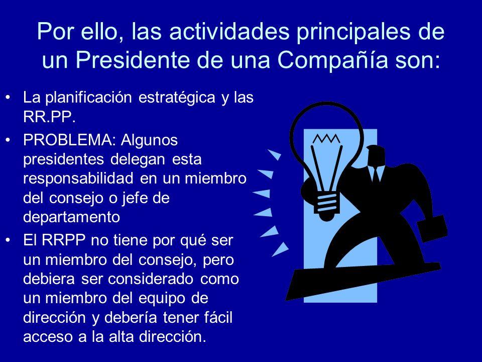 Por ello, las actividades principales de un Presidente de una Compañía son: La planificación estratégica y las RR.PP.