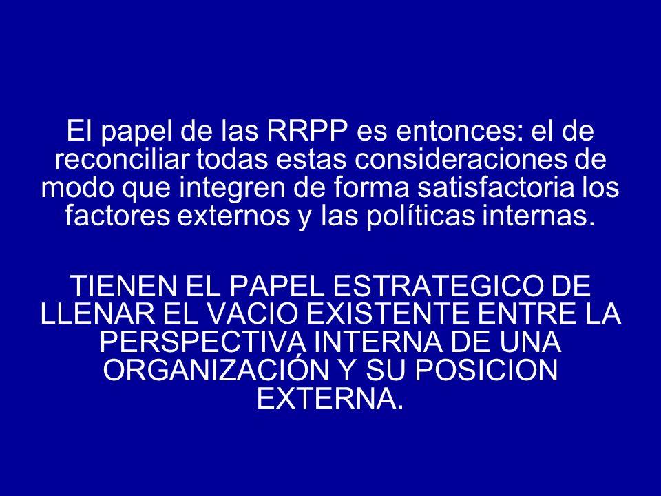 El papel de las RRPP es entonces: el de reconciliar todas estas consideraciones de modo que integren de forma satisfactoria los factores externos y las políticas internas.