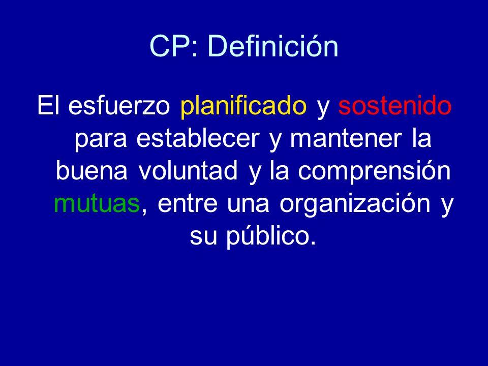 CP: Definición El esfuerzo planificado y sostenido para establecer y mantener la buena voluntad y la comprensión mutuas, entre una organización y su público.