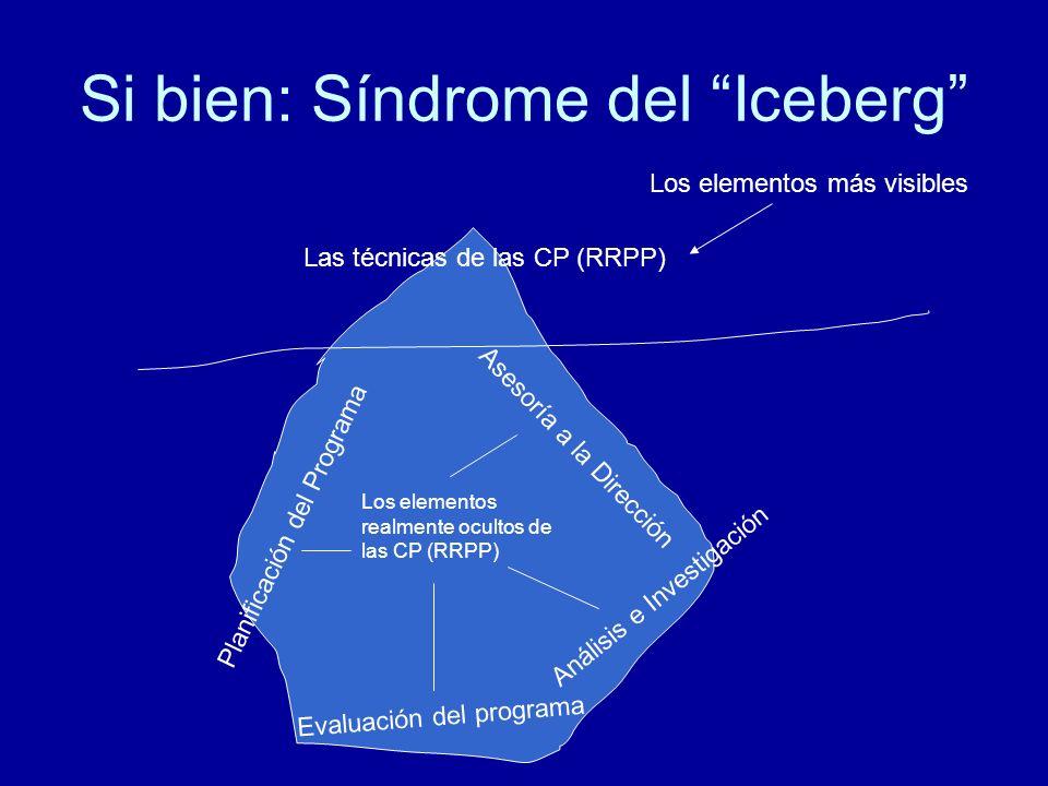 Si bien: Síndrome del Iceberg Las técnicas de las CP (RRPP) Los elementos realmente ocultos de las CP (RRPP) Planificación del Programa Evaluación del programa Análisis e Investigación Asesoría a la Dirección Los elementos más visibles