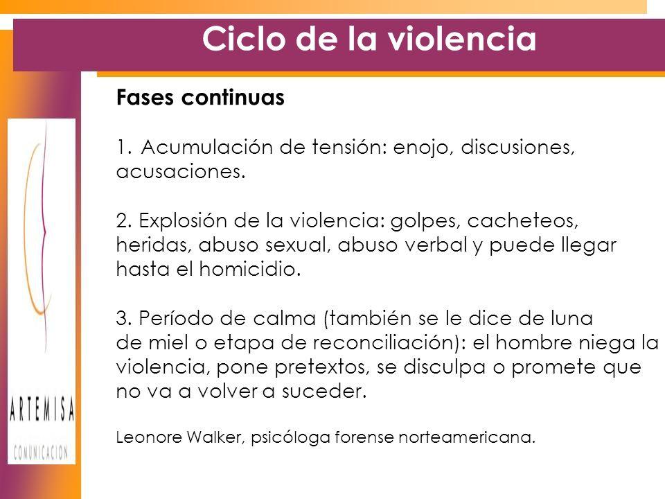 Ciclo de la violencia Fases continuas 1.Acumulación de tensión: enojo, discusiones, acusaciones.