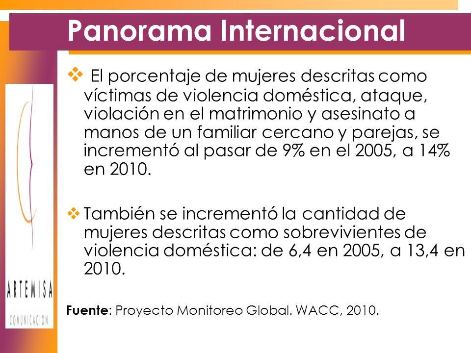 Panorama Internacional El porcentaje de mujeres descritas como víctimas de violencia doméstica, ataque, violación en el matrimonio y asesinato a manos de un familiar cercano y parejas, se incrementó al pasar de 9% en el 2005, a 14% en 2010.