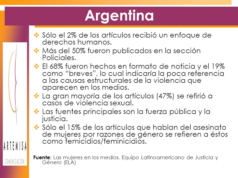 Argentina Sólo el 2% de los artículos recibió un enfoque de derechos humanos.